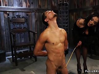 Black haired dominatrix anal fucks male