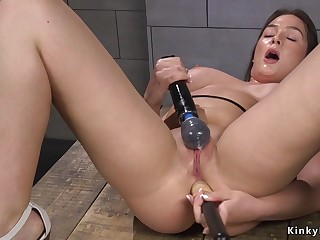 Hot brunette anal fucks machine