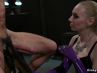 Long haired blonde dom rides male slave