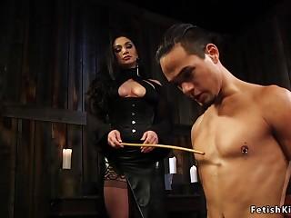 Guy fucks mistress with gag dildo