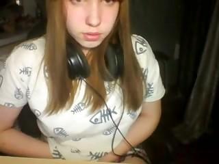 Shy hot Teen fingering pussy on webcam