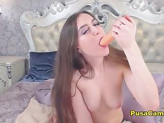 Natural Big Tits Teen Sucking And Masturbating While Orgasm Shaking Her