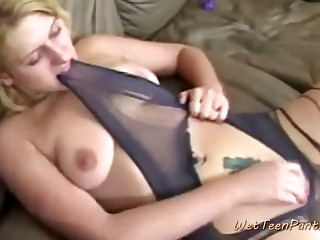 Blonde in Pantyhose Fingers Her Wet Twat