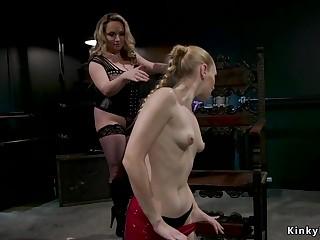 Huge tits dominatrix whips blonde slave