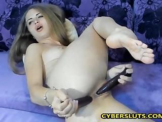 Beautiful blonde enjoying double penetration