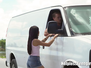 Latin minx fucked in a van