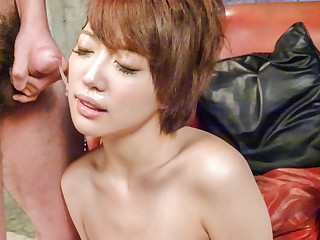 Makoto Yuukia ends with jizz on her nice lips and tits - More at javhd.net