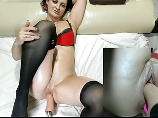 amazing slut in stockings fucked by machine