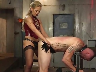 Blonde mistress pegging slave's asshole!