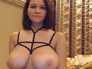 Slim Stacked Girl Playing With Tits
