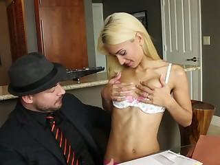 Skinny Uma Jolie fucks hard on the bed