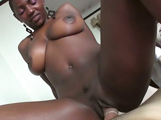 Black cutie riding monster dick