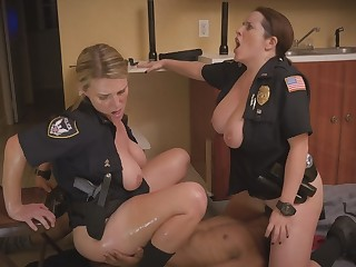 Two hot cops sharing black dick