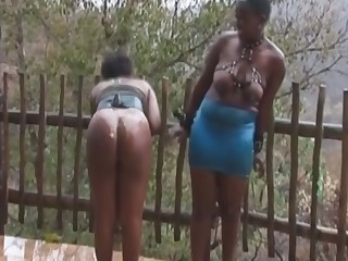 African chicks forced to blow big cock