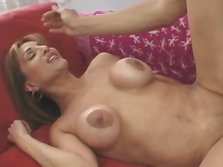 Busty brunette granny Sofia Soleil rubs her vagina and gets banged hard