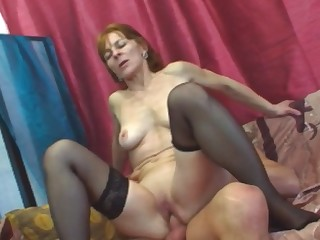 Horny granny in stockings is ready to suck and fuck that big dick