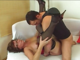 Horny granny Jana gives head and bangs on couch