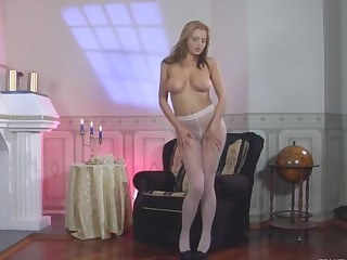JennyF videotaped while wearing pantyhose