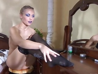 Blanch videotaped while wearing pantyhose