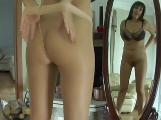 Meggy pantyhose tease action