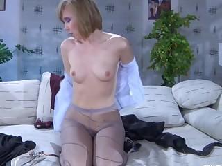 Aubrey in pantyhose action
