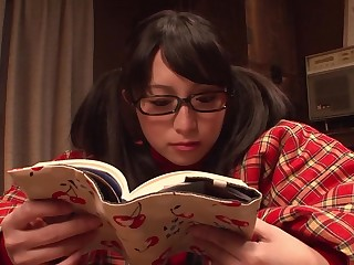 After reading a romance novel, curious teen fingers her pussy