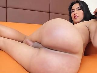 Transsexual Michelle Bejarano strokes her throbbin shecock!