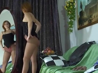 Megan videotaped while wearing pantyhose