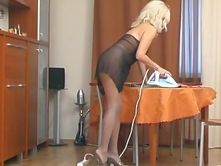 Laura and Betty videotaped while pantyhosing