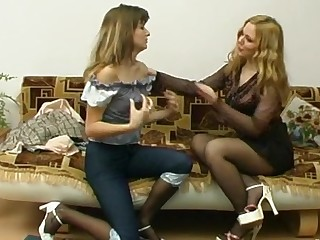 Maria and Etta naughty pantyhose action