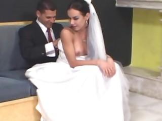 Calena mindblowing shemale bride
