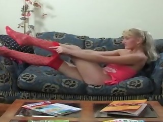 Hilda A in naughty pantyhose video