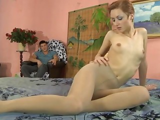 Sophy and David videotaped while pantyhosefucking anally