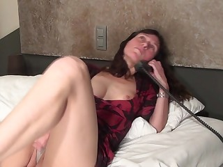 Naughty housewife playing and sucking cock
