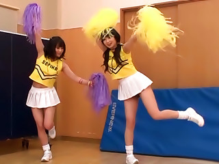 Exciting Cheerleader Threesome Sex Delight