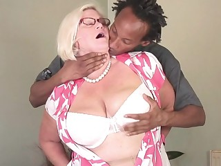 Big breasted British BBW fucking a black dude hard and long