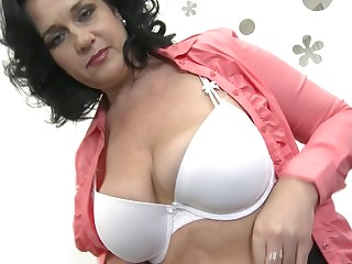 Big breasted mom getting very wet