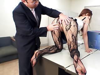 Rina Kikukawa fucked so hard by her horny boss