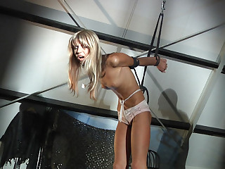 Slender sexy slave hard pained and vibed in a dark attick