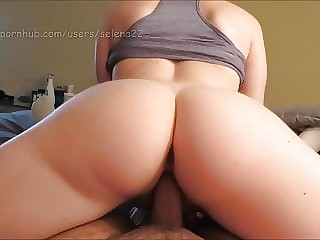 selena22 - Big White Butt and Lazy Riding!! (cream Pie)