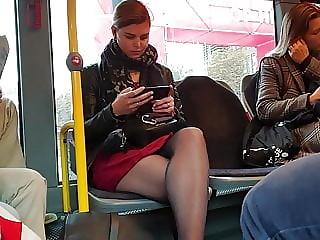 Sexy pantyhose legs on bus