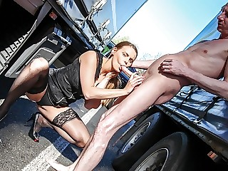 Sexy Hitchhiker Swallows Cum