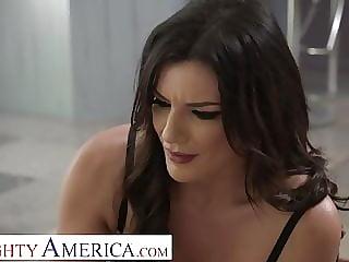 Naughty America Becky Bandini fucks to keep her son's job
