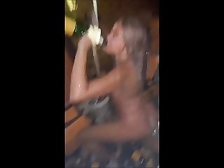 Champagne shower (45) - showing thong blond tiny tits facial