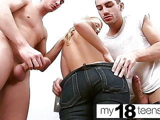 MY18TEENS - Blonde DP Cock Stranger and Oral Creampie