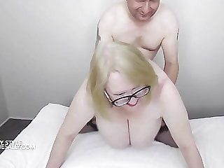 Swinging tits doggy style