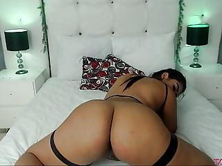 Fat latina masturbating on bed  p2