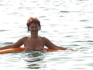 Dancing boobs in the sea naturist beach
