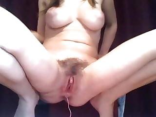 Hairy + puffy nipples+ Ohmibod dildo in ass