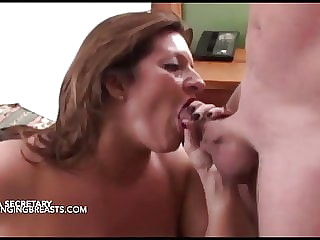 Stacked secretary doing her boss's big cock